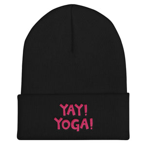 YAY! YOGA! Cuffed Beanie with hot pink embroidered lettering