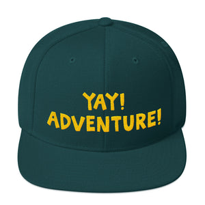 YAY! ADVENTURE! Snapback Hat with yellow embroidered lettering