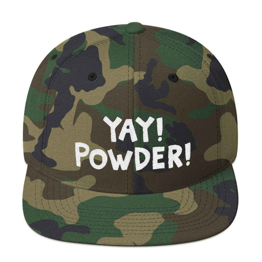 YAY! POWDER! Snapback Hat with bright white embroidered lettering