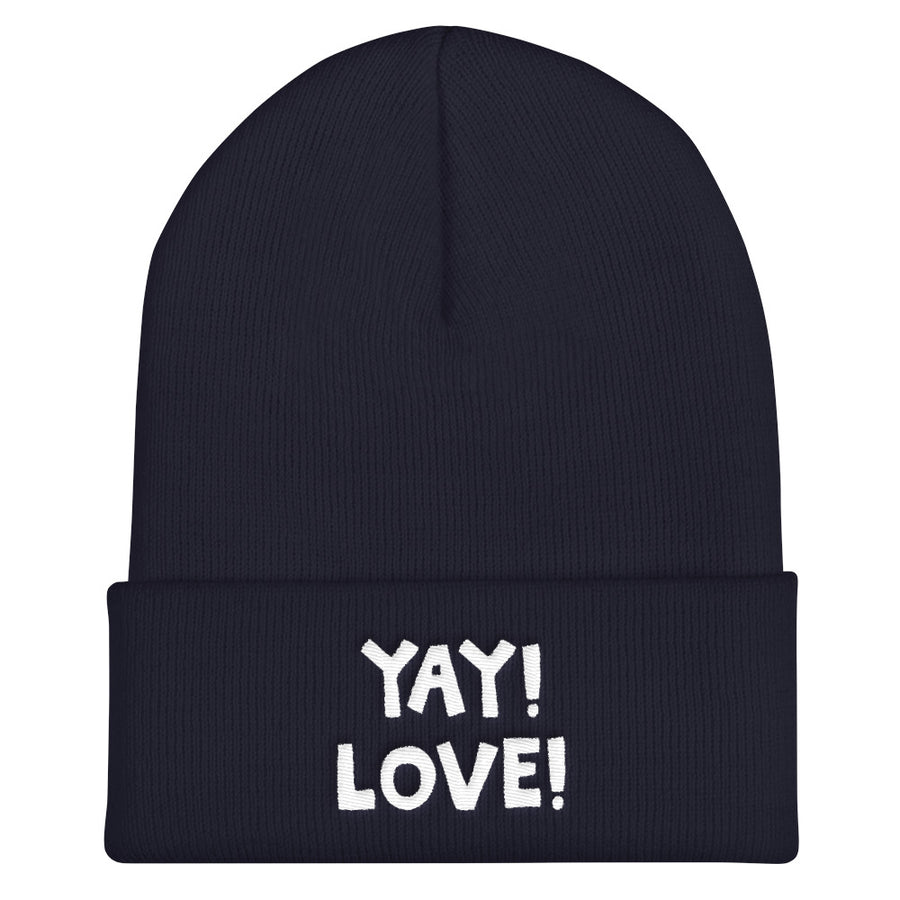 YAY! LOVE! Cuffed Beanie with bright white embroidered lettering