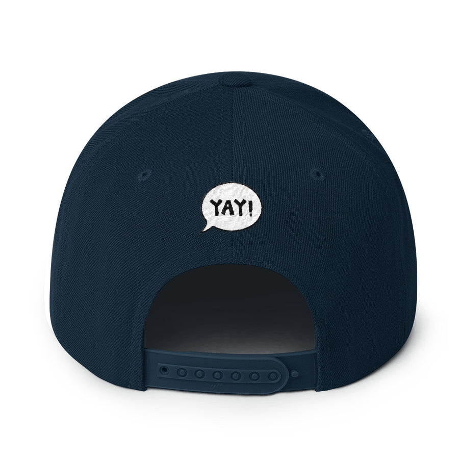 YAY! BEER! Snapback Hat with dark gold embroidered lettering.