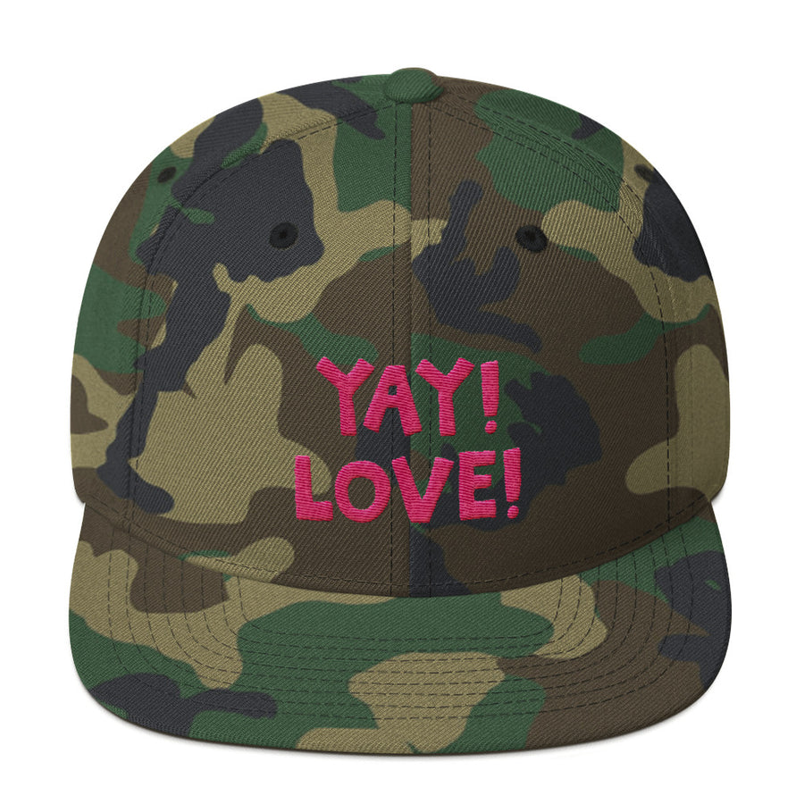 YAY! LOVE! Snapback Hat with hot pink embroidered lettering.