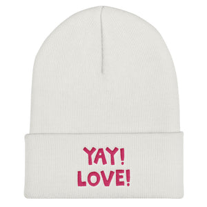 YAY! LOVE! Cuffed Beanie with hot pink embroidered lettering