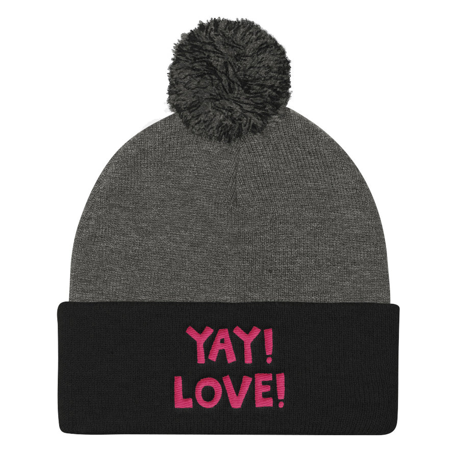 YAY! LOVE! Pom Pom Knit Cap with hot pink embroidery