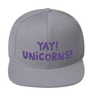 YAY! UNICORNS! Snapback Hat with purple embroidered letters