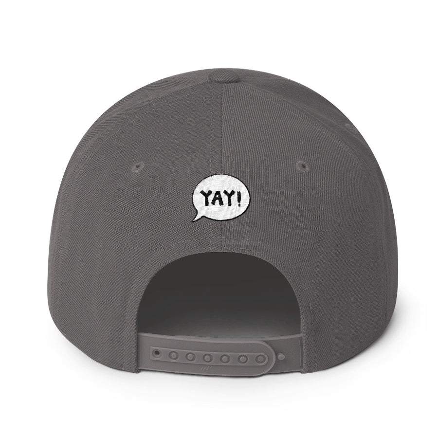 YAY! COFFEE! Snapback Hat with dark gold embroidered lettering
