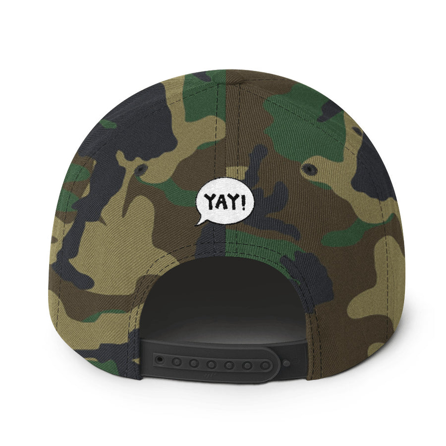 YAY! KALE! Snapback Hat with light green embroidered lettering
