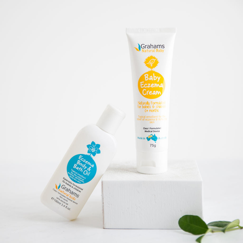 Best Baby eczema relief with the Grahams Natural baby eczema cream and baby eczema body oil