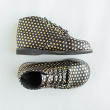 Load image into Gallery viewer, black boots with gold polka dots