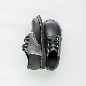 pewter and black saddle shoes