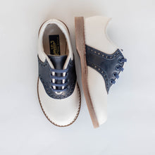 Load image into Gallery viewer, white navy saddle shoes