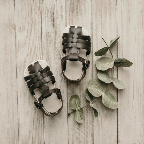 dark brown, leather sandal, beige sole
