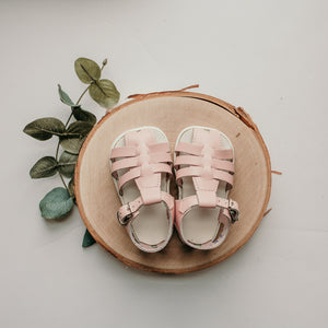 pink, leather sandal, beige sole