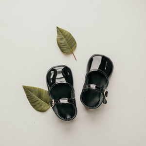 black patent leather crib shoes, single strap
