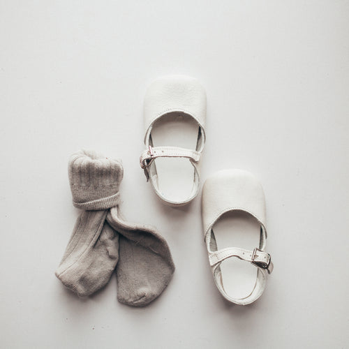 white leather crib shoes, single strap