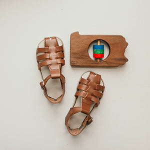 brown leather sandal, beige sole