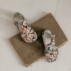 floral print leather sandal