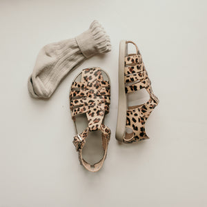 cheetah leather sandal, beige sole