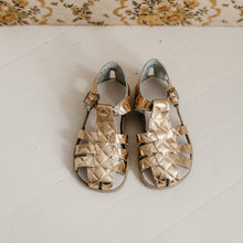 Load image into Gallery viewer, gold quilted leather sandal