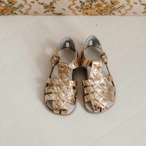 gold quilted leather sandal