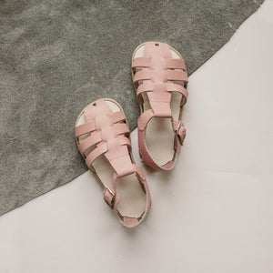 pink leather sandal, beige sole