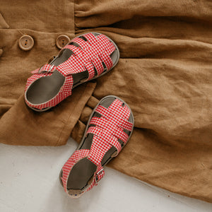 red plaid cloth sandal