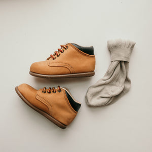 tan nubuck, first walker, leather boots, brown sole