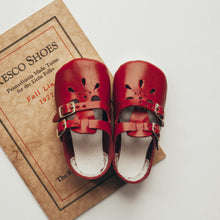 Load image into Gallery viewer, red leather crib shoes, two straps, petal shaped holes, white insides