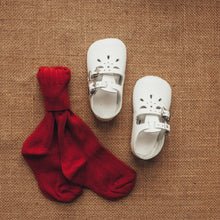 Load image into Gallery viewer, white leather crib shoes, two straps, petal shaped holes, white insides