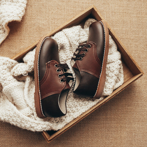 dark brown and chocolate brown leather saddle shoes, dark brown sole, chocolate brown laces