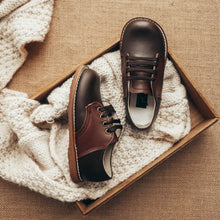 Load image into Gallery viewer, dark brown and chocolate brown leather saddle shoes, dark brown sole, chocolate brown laces