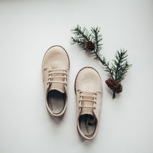 Load image into Gallery viewer, tan nubuck leather oxford, tan laces, brown soles
