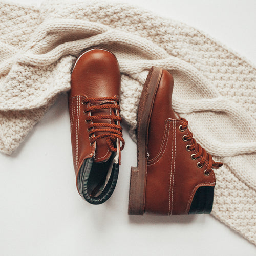 country tan leather boots, tan soles, tan laces