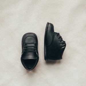 black leather boots, first walker, scuff tips, black laces, black sole
