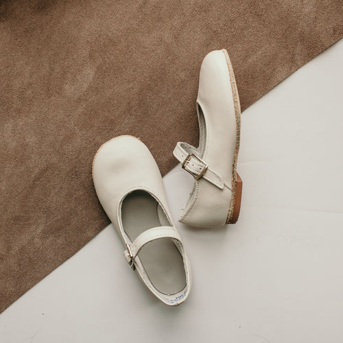 ecru leather mary jane, beige sole, single strap, beige inside