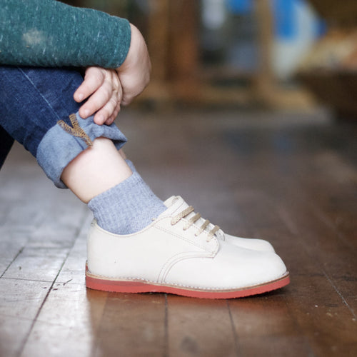 white leather oxford, brown sole, beige laces