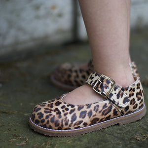 cheetah leather mary jane, brown sole, single strap, beige inside