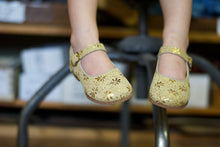 Load image into Gallery viewer, gold glitter leather mary jane, snowflake pattern, single strap, beige sole