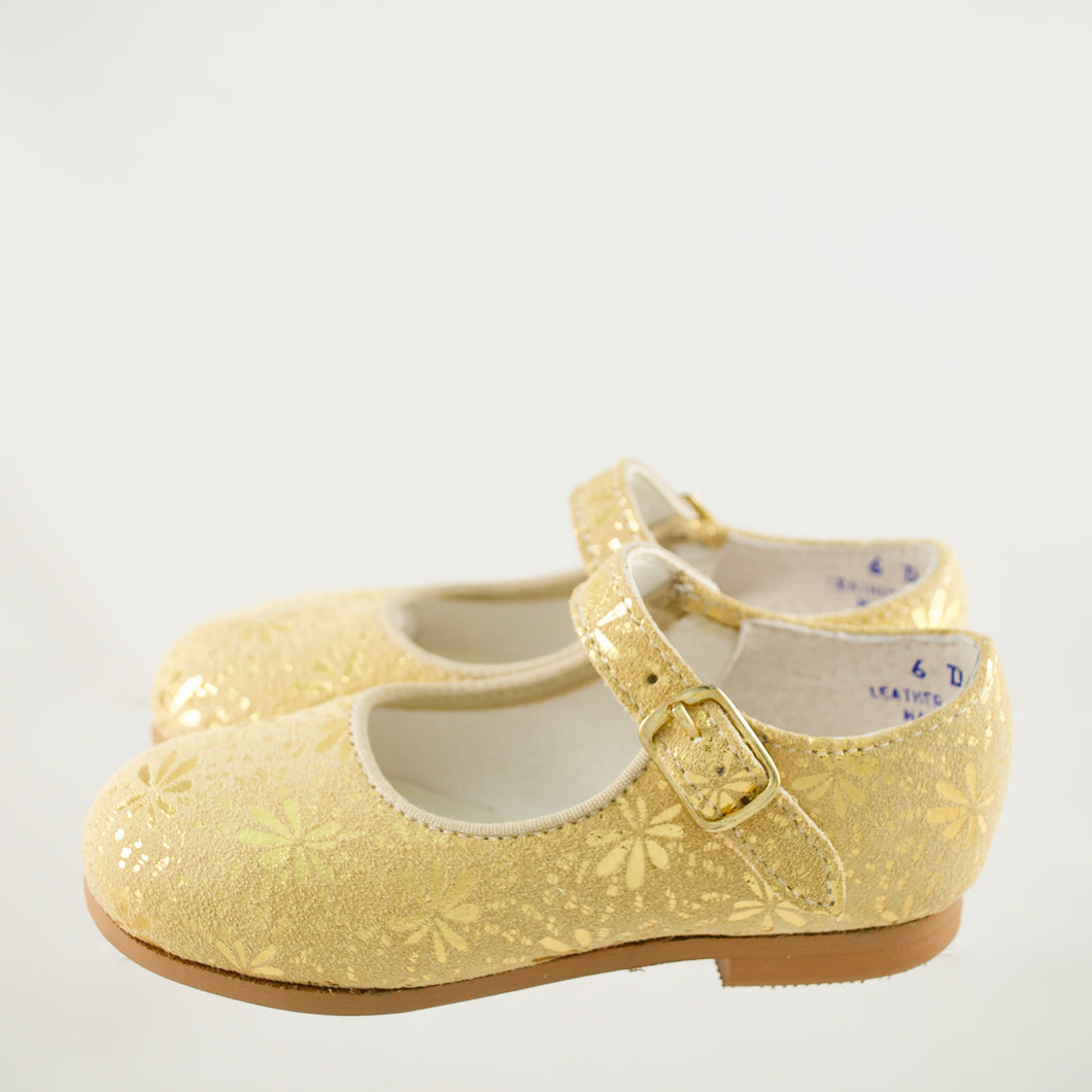 gold glitter leather mary jane, snowflake pattern, single strap, beige sole