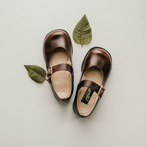 dark brown leather mary jane, black sole, single strap, beige inside