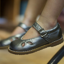 Load image into Gallery viewer, pewter leather mary jane, brown sole, single strap, beige inside, petal shaped holes