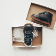 Load image into Gallery viewer, navy leather first walker, brown sole, navy laces, beige inside