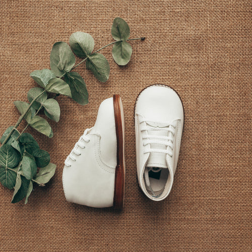 Smoothie First Walker in White (Leather Sole) | Sizes 2-9