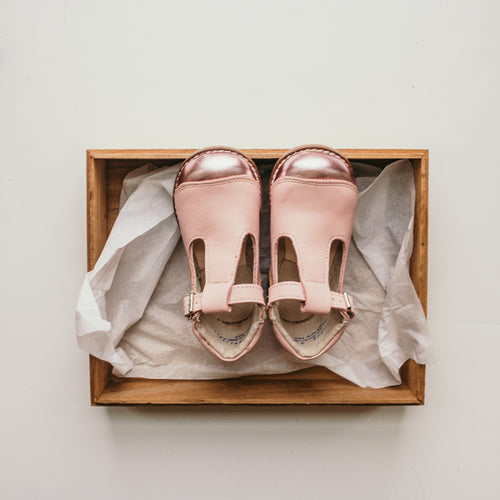 pink leather t-strap, metallic pink tips, beige inside, brown soles