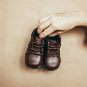 brown leather boots, first walkers, brown laces, black soles