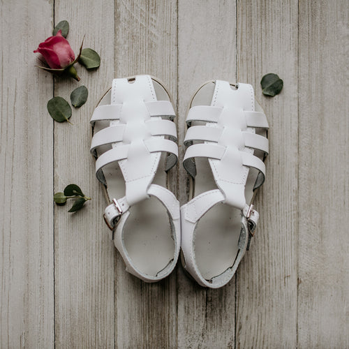 white leather sandal, beige sole