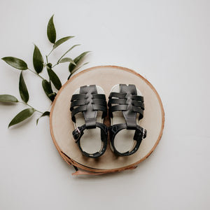 navy, leather sandal, beige sole