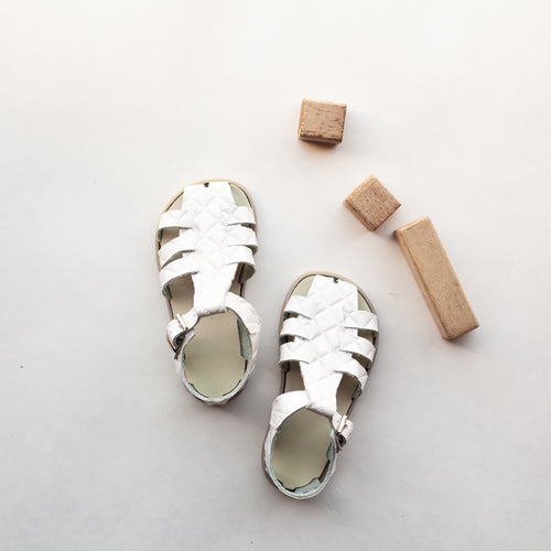 white quilted leather sandal