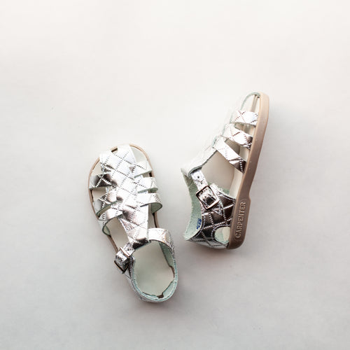 silver quilted leather sandal