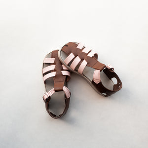 pink and brown leather sandal